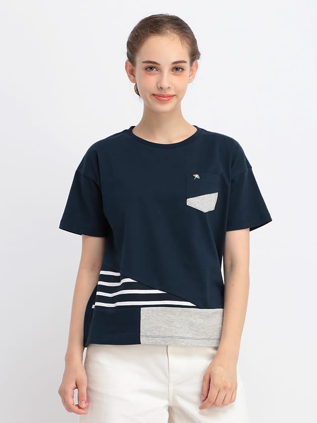 【ファミリー展開】裾切り替えパッチワークデザインTシャツ