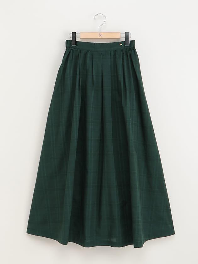 シアーチェック柄ロングギャザースカート