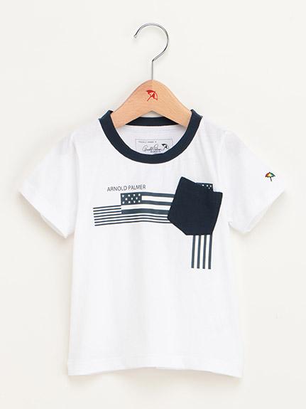 【ファミリー展開】ポケット付星条旗モチーフプリントTシャツ