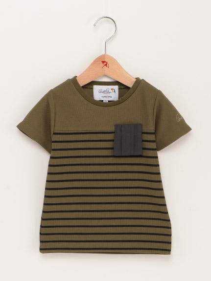 【親子お揃い】バスクボーダー異素材コンビTシャツ(Kid's)