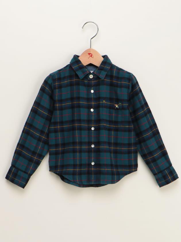 【ファミリー展開】タータンチェック柄コットンフランネルシャツ(KID'S)