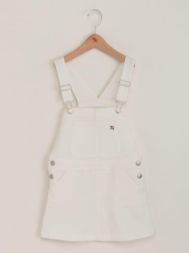 ホワイトストレッチデニムジャンパースカート