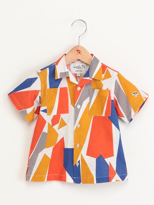 キッズ幾何柄プリントオープンカラー半袖シャツ