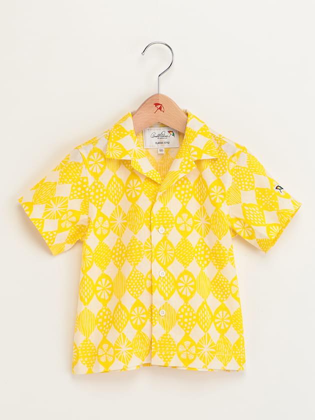 キッズレモンプリントオープンカラー半袖シャツ