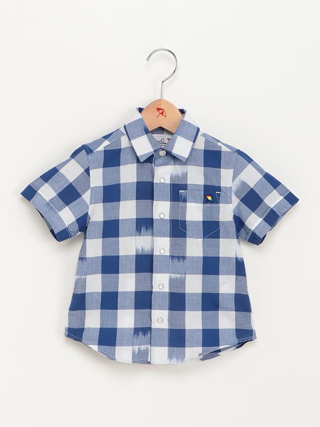 キッズイカットデザインギンガムチェック半袖シャツ