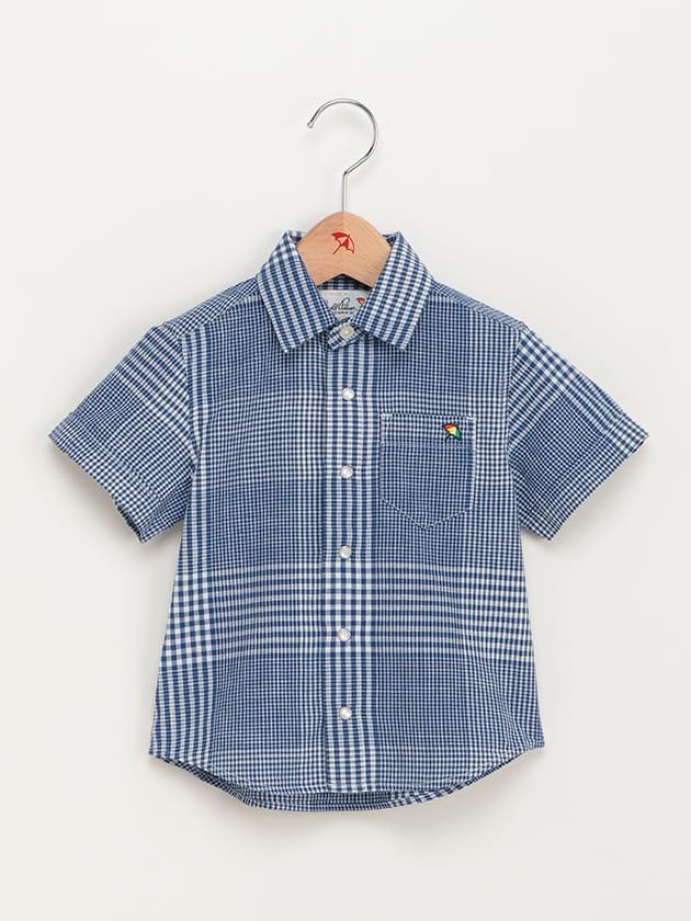 キッズカラー配色ギンガムチェック半袖シャツ