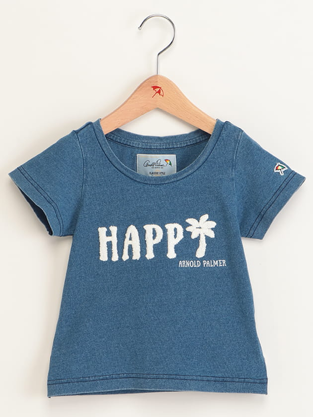 キッズサガラ刺繍デニムライクロゴTシャツ