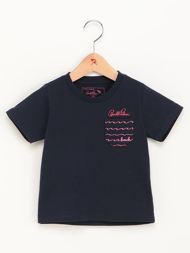 キッズウェーブボーダーポケットプリントTシャツ
