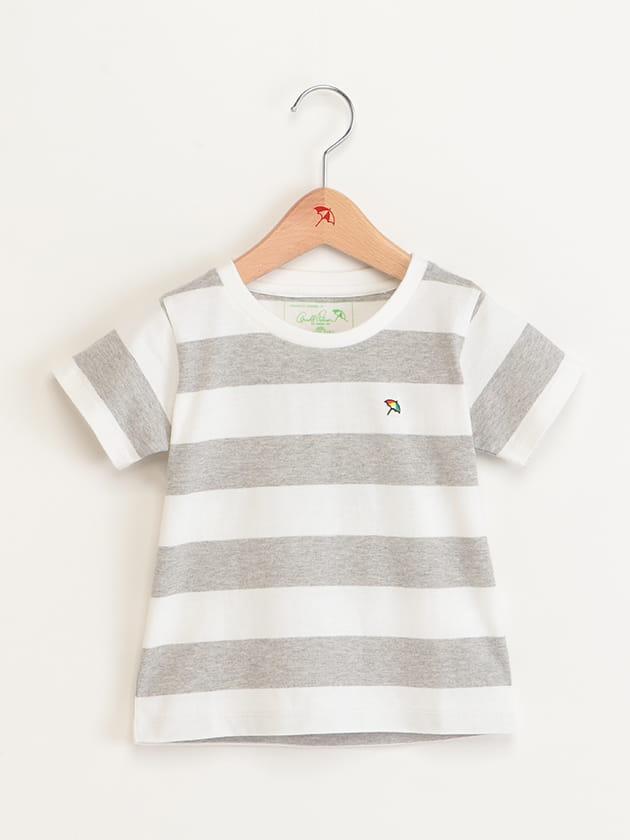 キッズボーダー柄バックロゴプリントTシャツ