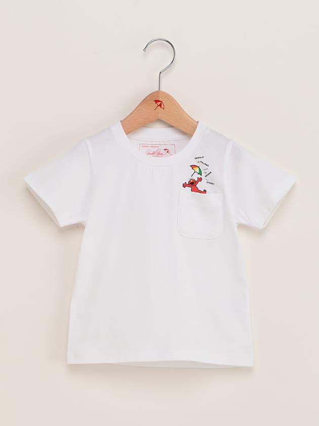 【セサミストリートコラボ】キッズ ワンポイント バックプリントクルーネックTシャツ