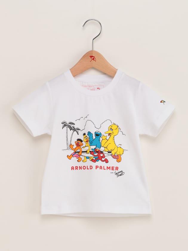 【セサミストリートコラボ】キッズ フロントプリントクルーネックTシャツ