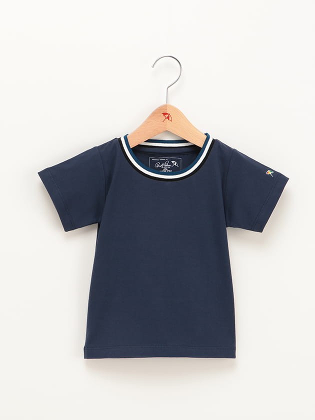【店舗限定】キッズカラーラインリブ使いクルーネックTシャツ