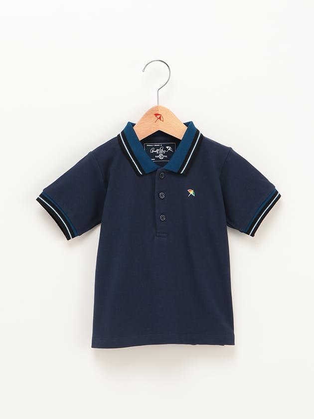 【店舗限定】キッズカラーラインリブ使いポロシャツ
