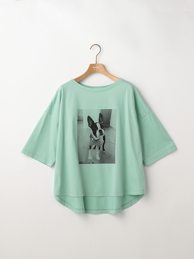 五分袖DOGフォトプリントTシャツ