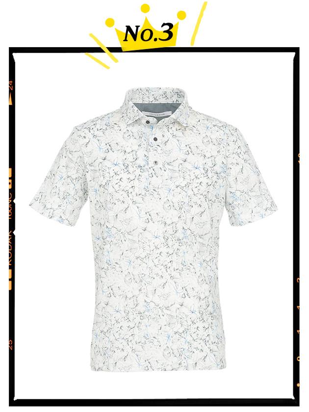 【日本製】手書き風フラワープリントポロシャツ