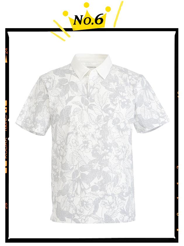 天竺フラワープリントポロシャツ