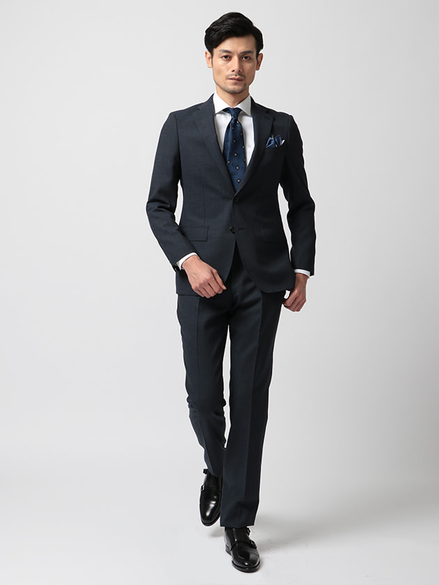 【Spin r.a.s.o.】ブルーカラーピンストライプ柄スーツ